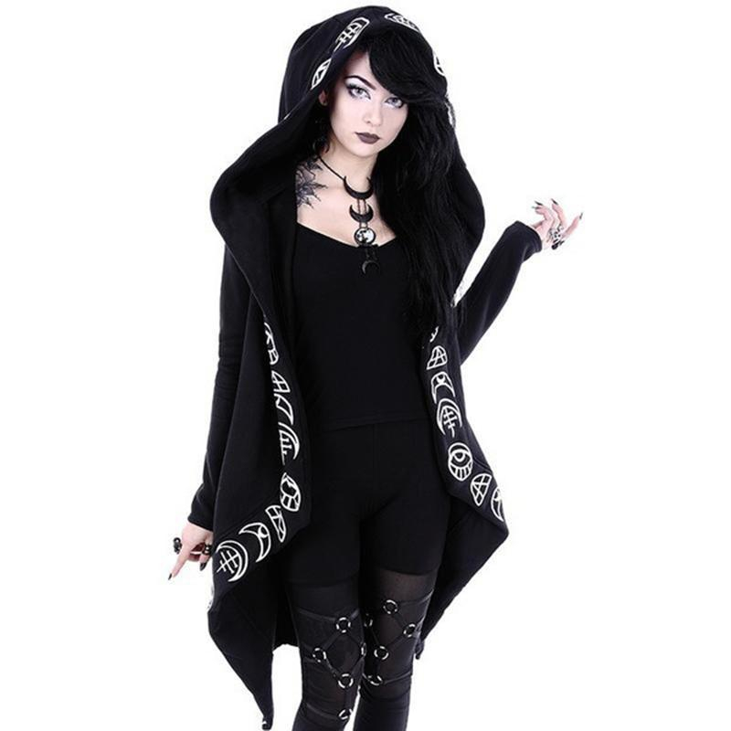 Women's Chic Gothic Hooded Top